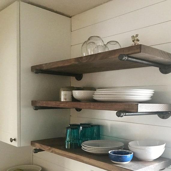 Open Kitchen Restaurant Rustic: Extra Long 12 Deep Industrial Floating Shelf Rustic