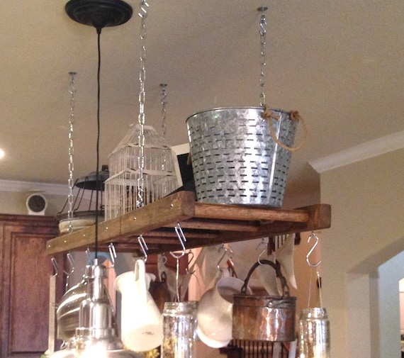 Kitchen Island Farmhouse Ladder Pot Rack, Oversized Pot and Pan Holder,  Wood stained Pot and Pan storage, Ceiling Rustkc Pot rack