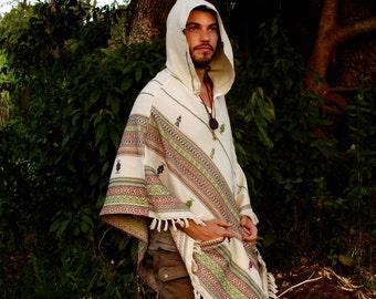 White Hooded Poncho with Hood Cashmere Wool, Earthy Tribal Pattern Festival Gypsy AJJAYA Mens Wear Boho Bohemian Primitive Mexican pockets