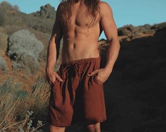 YUGINI Maroon Short Pants Loose Comfortable Mens Shorts with Pockets Natural Cotton Plant Dyed Yoga Workout Ninja Gypsy Festival Gym AJJAYA