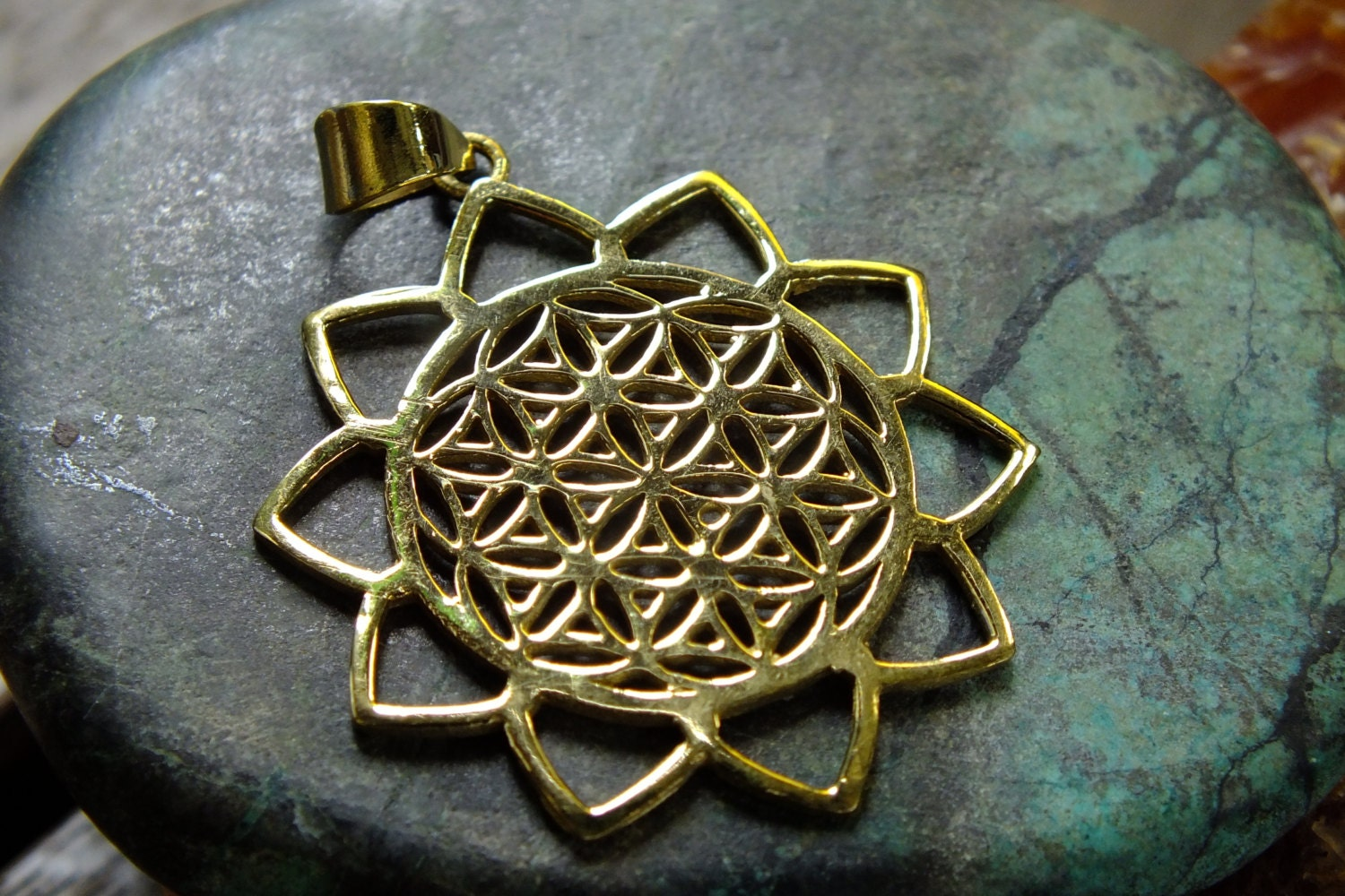 Flower Of Life With Lotus Leaves Pendant Sacred Geometry Mandala