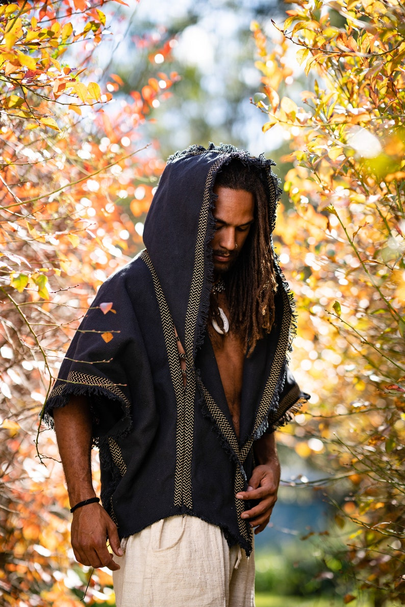 Mens Hooded Kimono Vest Black Alchemist Wizard Sorcerer Tribal SBlKX8Zr