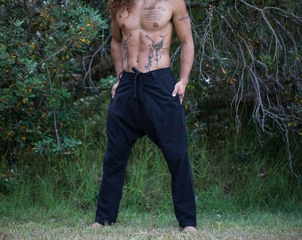 Mens Cotton Pants Black Drop Crotch Harem Alibaba Yoga Comfortable Breathable One Size Loose Fit Festival Boho Hippie Natural Earthy AJJAYA