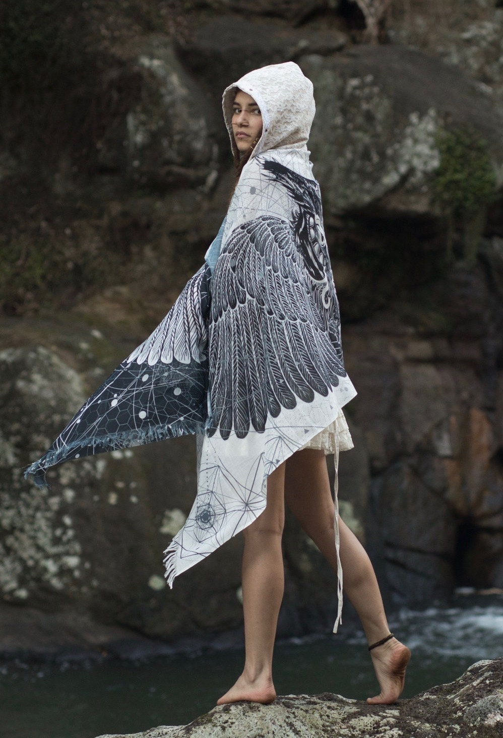 e9641f9dfb6 Black and White Feather Bird Wings Pashmina Sarong Scarf