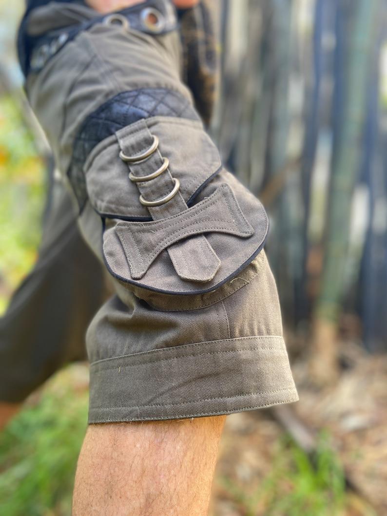 Aladdin Alibaba Harem Festival Tribal Rave Heavy Duty Mens Clothing AJJAYA Black Functional Afghani Cargo Goa Pants Shorts Multiple Pockets