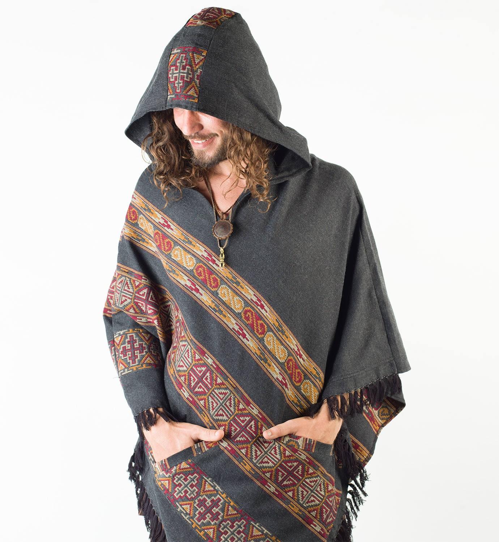 Mens Poncho Large Hood Yak Wool Dark Grey Tribal Embroidery Celtic Patterns Gypsy Alternative Wild Festival Rave Mexican Primitive AJJAYA QcBKJkZo36