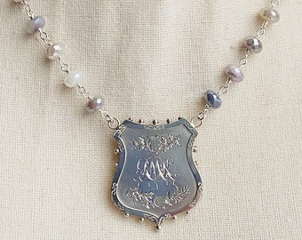 Sterling Silver West Hartlepool Education Authority Attendance Award from 1904 Brooch Conversion, Handmade Moonstone Chain