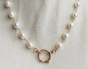 Made to order: Stunning Freshwater Pearl Necklace with Antique Clasp, Mix & Match, Add Your Own Heirloom