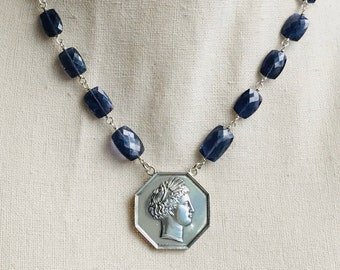 Antique French Silver Token, Agriculture Show of Amiens, Head of Ceres/Demeter on Handmade Iolite Chain