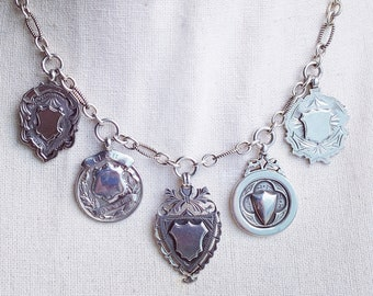 Spectacular Sterling Silver British Medals Necklace, Five Medals Hallmarked 1900-1919