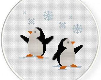 Funny Penquins Cross Stitch Pattern. Chart