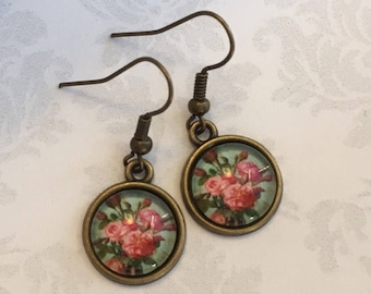 Pink Flower Earrings, Pink Flower Jewelry, Pink and Green Earrings, Vintage Style Earrings, Flower Jewelry, Gardening Gift, Gift under 25
