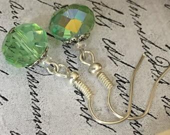 Light Green Earrings, Light Green Jewelry, Green Earrings, Light Green Drop Earrings, Green Jewelry, Green Drop Earrings, Gift under 20