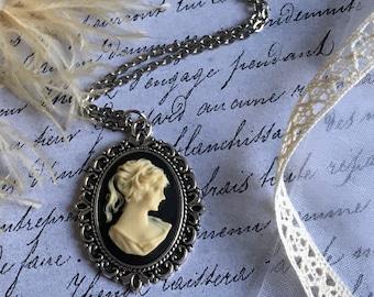 Antique Cameo Necklace, Antique Necklace, Cameo Jewelry, Silhouette Cameo, Cameo Necklace, Antique Silver Necklace, Antique Cameo Jewelry