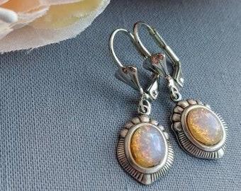 Fire Opal earrings, Harlequin Opal earrings, dainty vintage glass earrings, Shabby chic, vintage inspired jewelry, October birthday gift