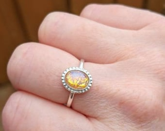 Harlequin Opal ring, Vintage Glass Fire Opal ring, 925 Sterling Silver ring, October birthstone, handmade jewelry rings