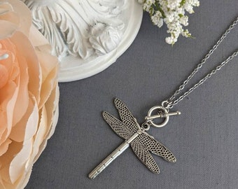 Silver Dragonfly necklace, long statement necklace, woodland nature jewelry for women, gift ideas for her birthday, wife anniversary gift