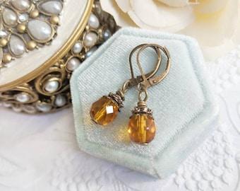 Amber glass bead dangle earrings, regency jewelry, vintage style earrings, gift for her birthday, Titanic jewelry