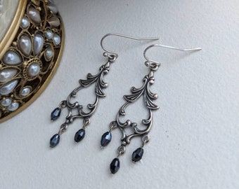 Black chandelier earrings, black 1920s jewelry, vintage style jewelry, elegant earrings, wife gift, Christmas gift for her