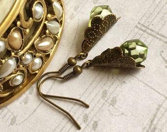 Green Drop Earrings, Green Jewelry, Green Earrings, Drop Earrings, Emerald Drop Earrings, Crystal Earrings, Gift under 20