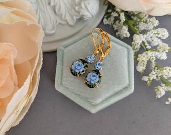 Black and blue flower earrings, vintage drop earrings, Limoges earrings, vintage chic, floral jewelry, wife Christmas gift