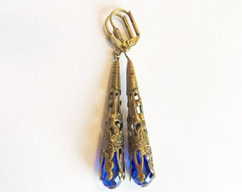 Blue Vintage Earrings, Vintage Earrings, Vintage Jewelry, Blue Earrings, Blue Jewelry, Long Blue Earrings, Filigree Earrings