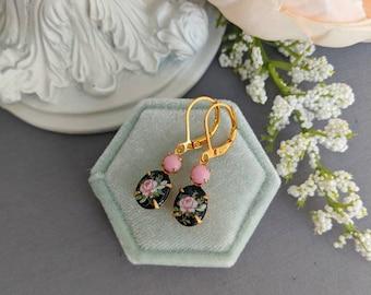 Black and pink flower earrings, vintage drop earrings, Limoges earrings, vintage chic, floral jewelry, wife Christmas gift