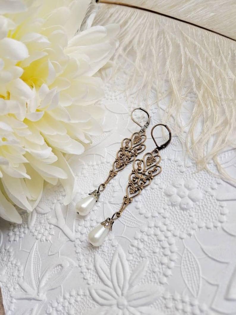 Idee Per Porta Orecchini orecchini di perla lunga per sposa shabby chic, orecchini dichiarazione per  matrimoni romantici, gioielli regalo idee per il suo compleanno di giugno