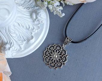 Silver Mandala necklace, Large flower pendant necklace, Black leather choker, Silver flower necklace, Filigree necklace, daughter Christmas