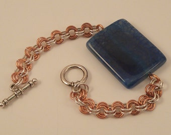 Copper & Silver Chain Link Bracelet with Aqua Agate Stone Focus