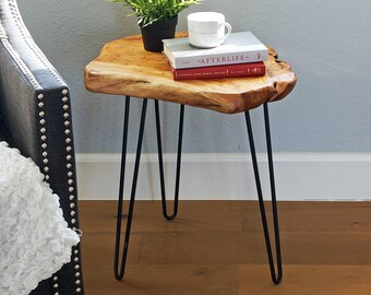 "Live Edge Side Table, Wooden Nightstand with Hairpin, Live Edge End Table, Accent Table, Furniture, Mid Century Modern, 20.5"" Tall HW950-540"
