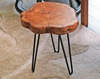 "Wooden Side Table, Tree Stump Stool, Jujube Tree, Dark Wood Slab Table, Natural Handmade Furniture, Gift, Plant Stand, 16"" Tall HW950-907"