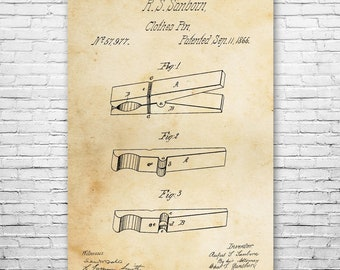 Clothes Pin Poster Print Farmhouse Gift Craft Maker Laundry Room Homesteading
