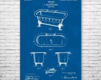 Vintage Bathtub Poster Print Interior Decorator Plumber Gifts Victorian Decor