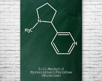 Nicotine Molecule Poster Science Art Print, Nicotine, Tobacco, Cigar, Cigarette, Smoking, Chemistry Art, Science Print, Chemistry Poster