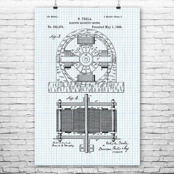 Tesla Alternating Motor Poster Print Engineering Student Tesla Inventions