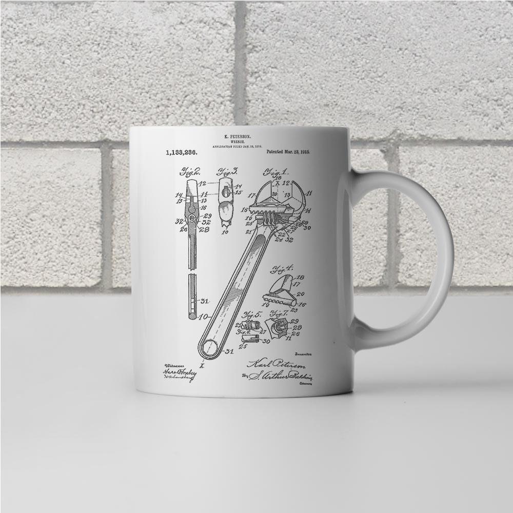 Crescent Wrench Patent Mug Gift Handyman Gift Auto Mechanic Workshop Mug