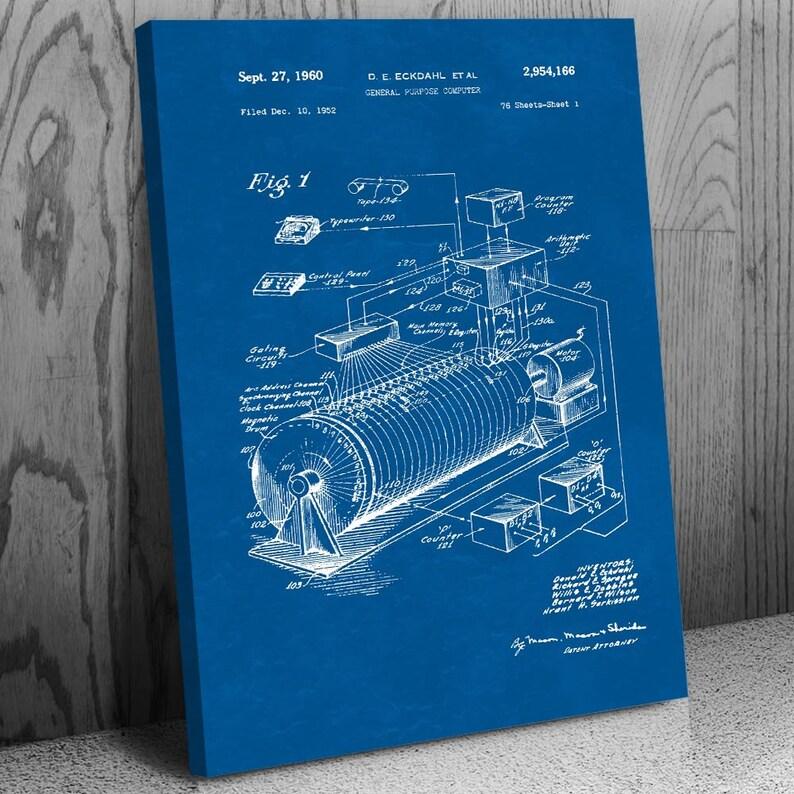 Eckdahl Computer Poster Print Adding Machine Engineer Gift Computer Blueprint