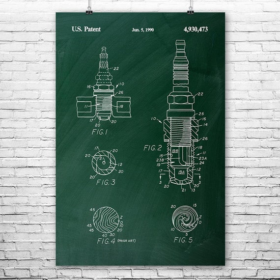 Spark Plug Poster Print, Mechanic Gift, Repair Shop, Getriebestelle, Autokabeln, Kfz Ingenieur, Body Shop, Vintage Automobile, Autoteile