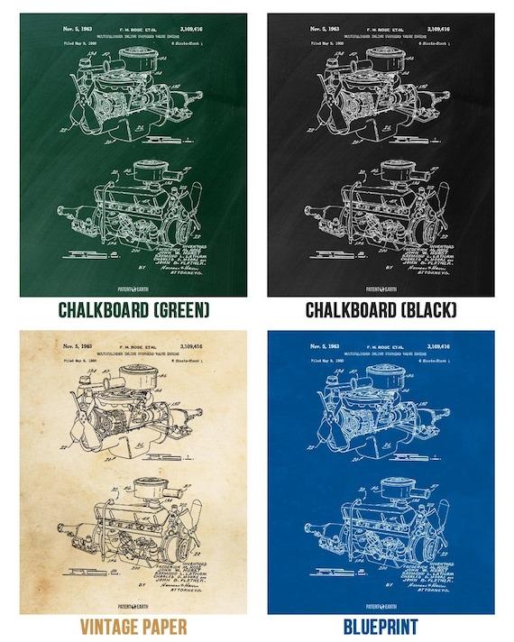 Chrysler 220 Slant Six Engine Poster Print Mechanic Gift Auto Enthusiast