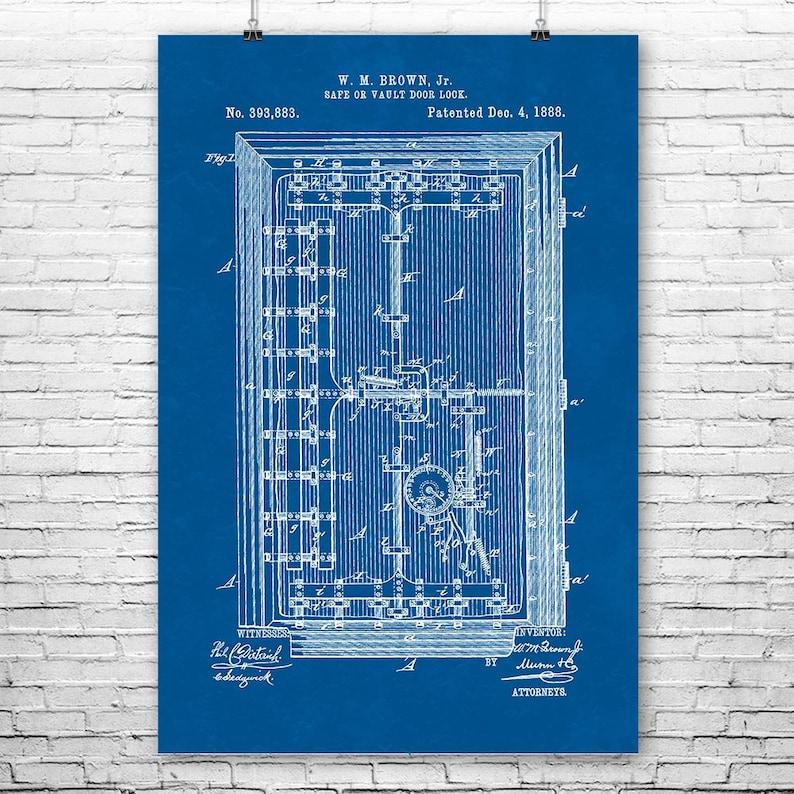 1800s Bank Vault Door Poster Print, Bank Blueprint, Banker Gift, Locksmith  Gifts, Handyman Gift, Vintage Hardware, Engineer Gift, Door Lock