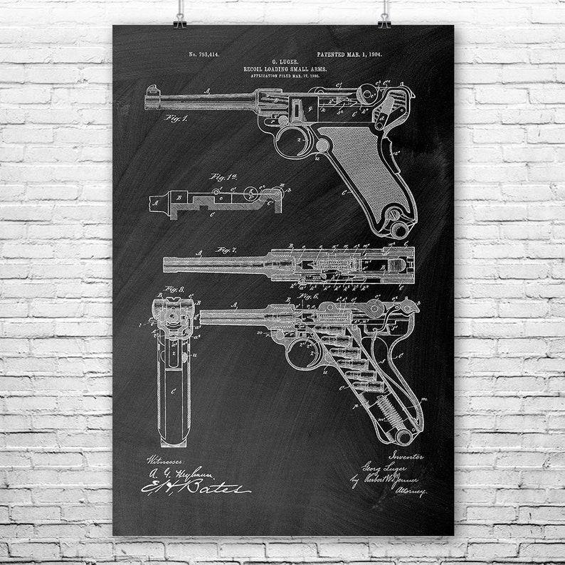 Ww2 Luger Pistol Poster Art Print Gun Enthusiast Vintage Etsy