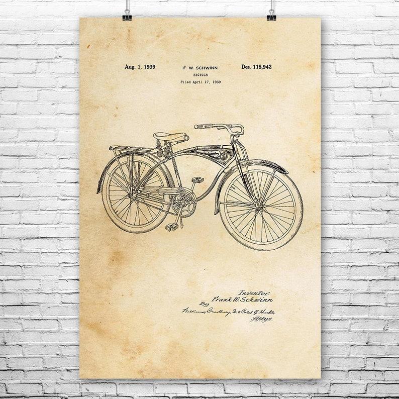 Schwinn Bicycle Poster Print Cycling Gift Roadster Vintage Bicycle Schwinn Bike
