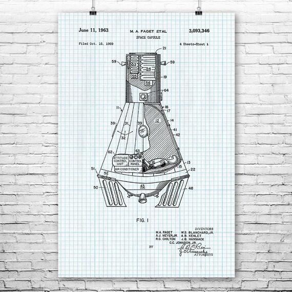 Nasa Mercury Space Capsule Poster Art Print Travel Etsy. Mercury. Nasa Mercury Diagram At Scoala.co