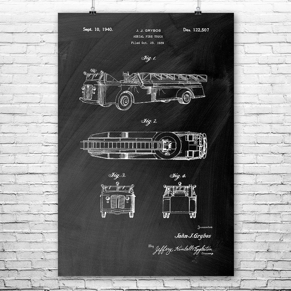 ca4f186d9fd Aerial Fire Truck Poster Print, First Responder, Firefighter Gift, Vintage  Fire Truck, Firehouse, Ladder Fire Truck, Fireman Wife, EMT Gifts