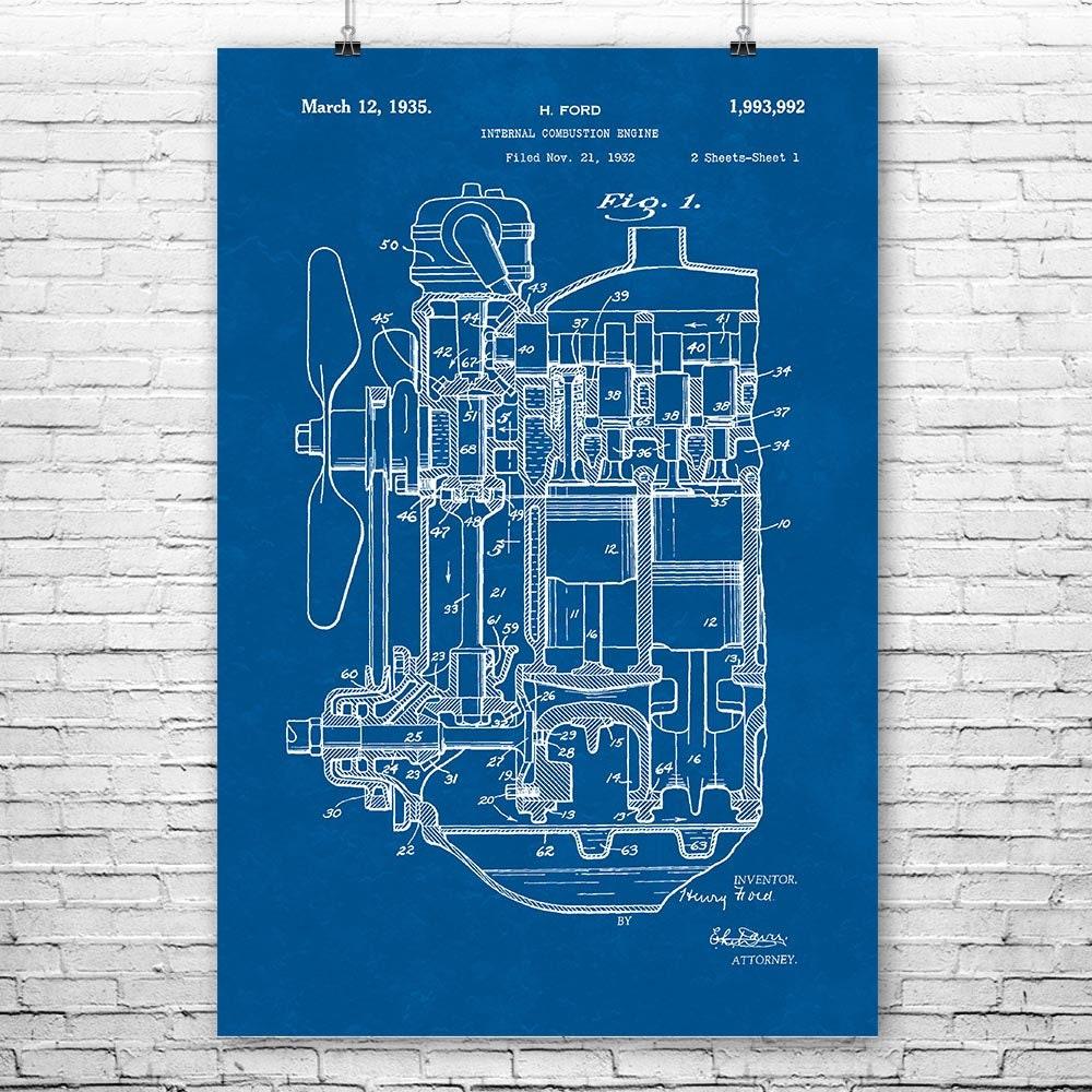wrg 3427 papercraft v8 engine diagram henry ford internal combustion engine poster art print henry working papercraft v8