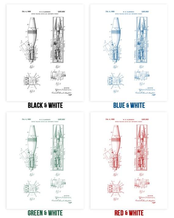 Mortar Shell Poster Print Munitions Technician Soldier Gift Mortar Blueprint