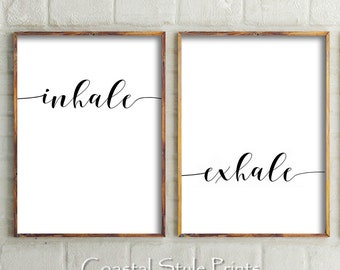 Inhale Exhale Print, Set Of 2,Inhale Exhale Poster,Black And White  Print,Yoga Print,Bedroom Wall Art,Boho Print,Bedroom Decor,Minimal Quote