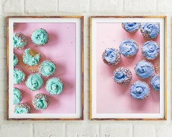 Girls Wall Art Food Art Cafe Wall Decor,Pink Aqua Blue Australia Cupcake Prints Printable Cake Print Set Of 2 Cake Art Print