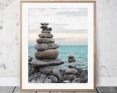 Therapy Poster, Zen Rocks, Meditation Print, Coastal Wall Art, Yoga Print, Balancing Rocks, Spiritual Wall Art, Her Gifts, Beach Photography